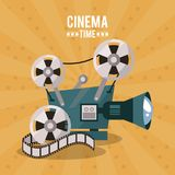 Colorful poster of cinema time with movie film projector. Vector illustration Stock Image