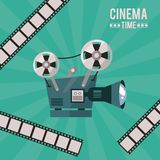 Colorful poster of cinema time with movie projector and film tape. Vector illustration Royalty Free Stock Photos
