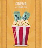 Colorful poster of cinema time with popcorn bucket and tickets. Vector illustration Royalty Free Stock Images