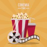 Colorful poster of cinema time with popcorn pack and drink and film reel. Vector illustration Stock Image