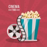 Colorful poster of cinema time with popcorn pack and film reel. Vector illustration Stock Photo
