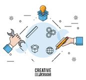 Colorful poster creative process with silhouettes of hands with wrench and pencial and light bulb on cardboard box. Vector illustration Stock Images