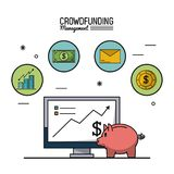Colorful poster of crowd funding management with desktop computer and moneybox in closeup and icons on top. Vector illustration Royalty Free Stock Photography