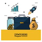 Colorful poster of crowd funding management with executive briefcase and savings and bar graphs statistics. Vector illustration Royalty Free Stock Photography