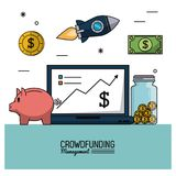 Colorful poster of crowd funding management with laptop computer and moneybox in closeup and icons around. Vector illustration Stock Photography