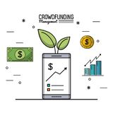 Colorful poster of crowd funding management with smartphone and economic growing graphs. Vector illustration Royalty Free Stock Photos
