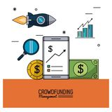 Colorful poster of crowd funding management with smartphone and savings and bar graphs statistics. Vector illustration Stock Images
