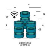 Colorful poster of data center service with computer server icon and wireless signal. Vector illustration Royalty Free Stock Photos