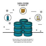 Colorful poster of data center service with computer server and icons of usb memory and file and storage info on top. Vector illustration Stock Images
