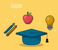 Colorful poster of education with graduation cap in closeup and icons of pencil and fountain pen and apple fruit and. Light bulb vector illustration Royalty Free Stock Photo