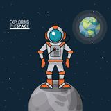 Colorful poster exploring the space with astronaut over the moon and planet earth in the background. Vector illustration Stock Images