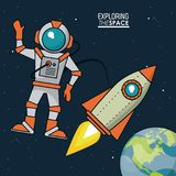 Colorful poster exploring the space with astronaut and spaceship and planet earth in the background. Vector illustration Stock Photo