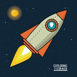 Colorful poster exploring the space with spaceship and sun. Vector illustration Stock Photography