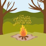 Colorful poster festa junina with background outdoors and wood fire. Vector illustration Stock Photos