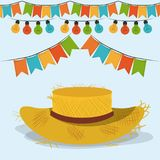 Colorful poster festa junina with starry background with hat and pattern of sunflowers. Colorful poster festa junina with hat and pattern of bulb, vector Stock Image