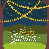 Colorful poster festa junina with nightly background outdoors and decorative lights. Vector illustration Royalty Free Stock Images