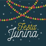 Colorful poster festa junina with starry background and decorative lights. Vector illustration Stock Photo