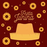 Colorful poster festa junina with starry background with hat and pattern of sunflowers. Vector illustration Stock Images