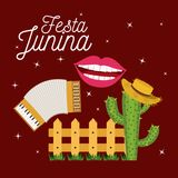 Colorful poster festa junina with starry background and wooden railing with cactus with hat. Vector illustration Royalty Free Stock Images