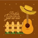 Colorful poster festa junina with starry background and wooden railing with guitar and hat. Vector illustration Royalty Free Stock Image