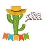 Colorful poster festa junina with white background of cactus with hat and festoons. Vector illustration Stock Image