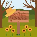 Colorful poster festa junina in wooden fence with background outdoors. Vector illustration Stock Image
