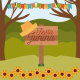 Colorful poster festa junina in wooden fence with background outdoors with sunflowers and colored festoons. Vector illustration vector illustration