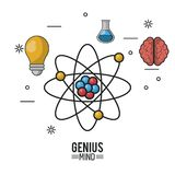 Colorful poster of genius mind with atom in closeup and icons of light bulb and test tube and brain Stock Photo