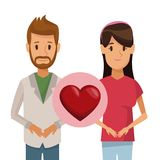 Colorful poster half body couple bearded man and woman with icon of heart love concept. Vector illustration Royalty Free Stock Photo