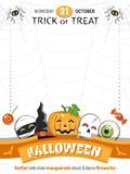 Colorful poster for Halloween Party with funny cartoon characters. stock illustration