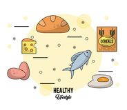 Colorful poster healthy lifestyle with set of foods eggs cheese and bread and fish and cereals. Vector illustration Stock Photos