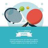 Colorful poster of healthy lifestyle sports with rackets and balls of tennis and ping pong. Vector illustration Royalty Free Stock Photos