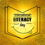 Colorful poster for International literacy day. Symbol of book and lettering on the background of letters Stock Photo