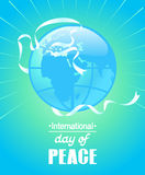 Colorful poster for International peace day. White Ribbon in the form of a dove silhouette and the inscription Stock Photography