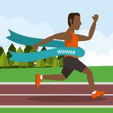 Colorful poster keep running with man athlete afro american crossing the finish line. Vector illustration Royalty Free Stock Photos