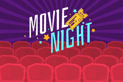 Colorful poster movie night with cinema, tickets and chairs. Stock Photo
