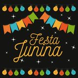 Colorful poster of nightly background of festa junina. Vector illustration Stock Photo