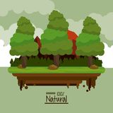 Colorful poster one hundred percent natural with landscape of rocky mountains and trees. Vector illustration Royalty Free Stock Photos