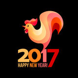 Colorful poster of a rooster  on black background. Good for prints, covers, posters, cards, gift design. Happy 2017 Chinese New Year card Royalty Free Stock Image