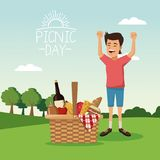 Colorful poster scene landscape of picnic day with basket full food and boy happiness over tablecloth grass. Vector illustration Royalty Free Stock Photography