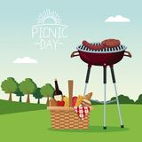 Colorful poster scene landscape of picnic day with food and beverages and grill barbecue in grass. Vector illustration Stock Photo