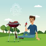 Colorful poster scene landscape of picnic day with grill barbecue with bearded man drinking a soda in grass. Vector illustration Royalty Free Stock Photo