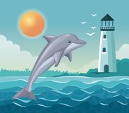 Colorful poster seaside with dolphin jump and lighthouse in coast Royalty Free Stock Photos