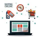 Colorful poster shopping online with laptop computer and shopping cart and shipping time icon. Vector illustration Stock Photo
