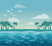 Colorful poster sky landscape of palm trees on the beach. Vector illustration Stock Photo