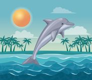Colorful poster sky landscape of palm trees on the beach and dolphin jump in the waves. Vector illustration Royalty Free Stock Photo