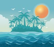 Colorful poster sky landscape of palm trees on the beach with sun in the sky. Vector illustration Stock Photos