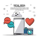 Colorful poster of social media with smartphone and icons heart and and camera and speech bubble and cloud link. Vector illustration Royalty Free Stock Images