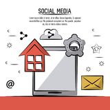 Colorful poster of social media with tablet device and icons of home and cloud link and settings and mail. Vector illustration Royalty Free Stock Photo