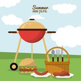 Colorful poster of summer picnic with field landscape with picnic basket and charcoal grill and dishes with sausage and. Meat and burger vector illustration Stock Photos